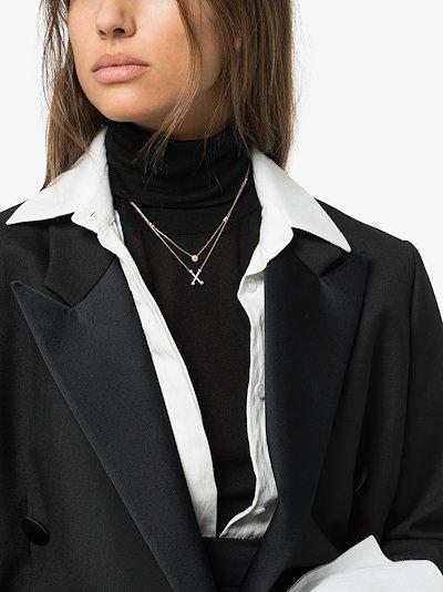 14K rose gold Lauren Joy halo diamond necklace