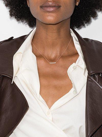 14K rose gold Lulu Jack mini bezel bar diamond necklace
