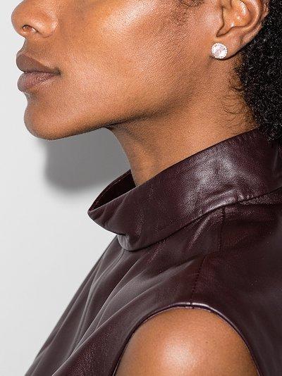 14K rose gold round quartz stud earrings
