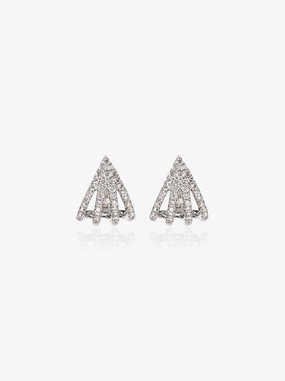 14K white gold Sarah Leah four burst diamond earrings