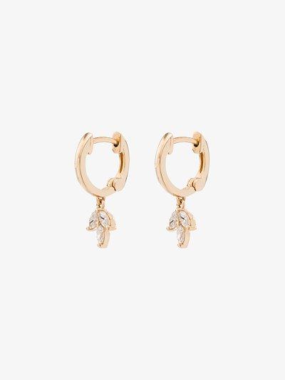 14K yellow gold Alexa Jordyn marquise trio diamond huggie hoop earrings