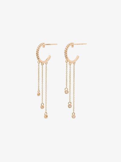 14K yellow gold Lulu Jack dangling bezel diamond earrings