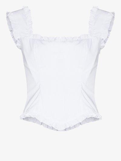 Bandana ruffle trim cotton corset shirt