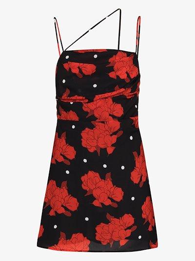 Frisco Asymmetric Rose Print Mini Dress
