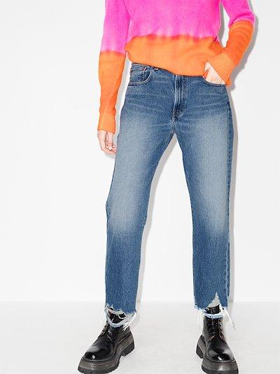 distressed hem boyfriend jeans