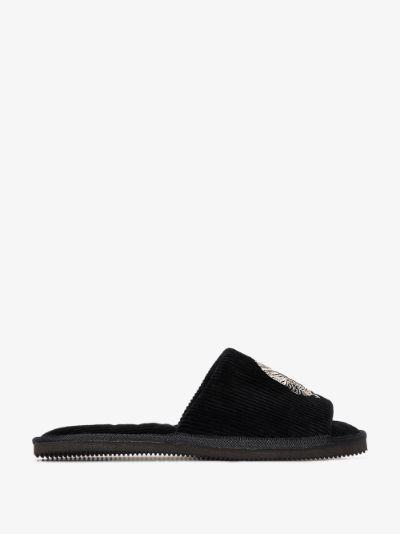 black Sansindo embroidered slippers