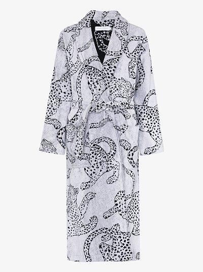 jaguar print towel robe