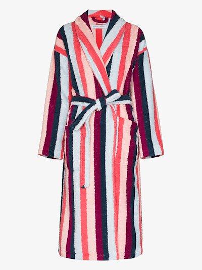 Medina stripe print towel robe