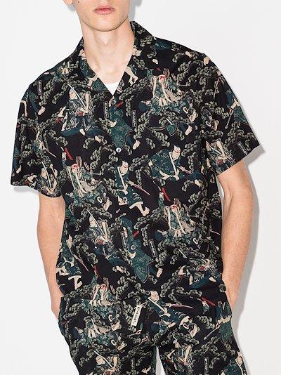 samurai print cuban pyjama shirt