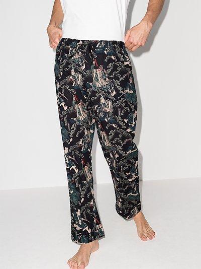samurai print pyjama trousers
