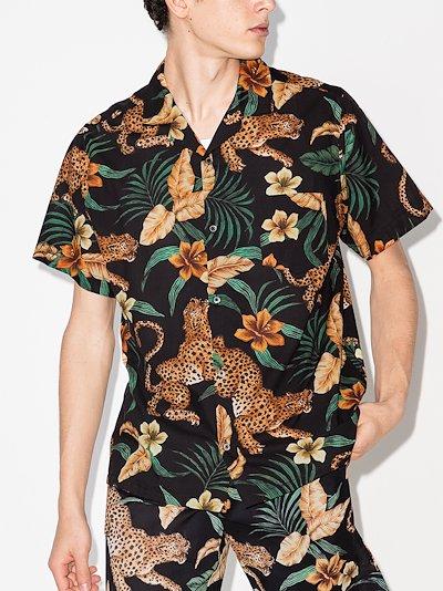 soleia leopard print cuban pyjama shirt