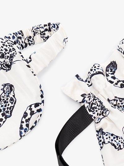 white The Jaguar Print silk eye mask