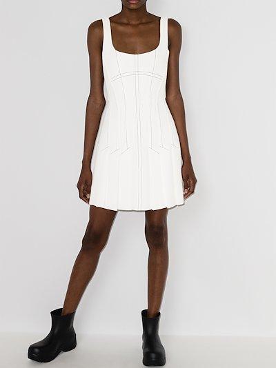 pleated corset mini dress