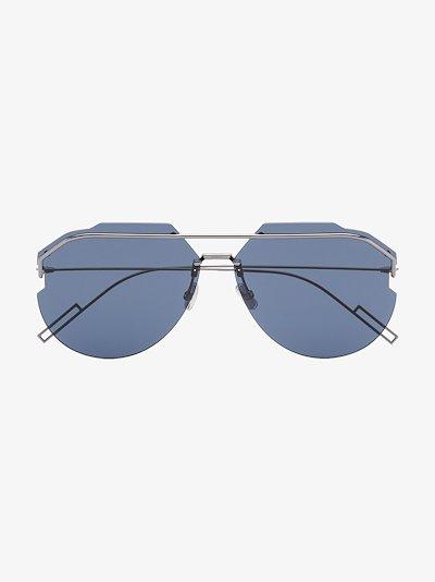 blue and gunmetal tone AnDiorid aviator sunglasses