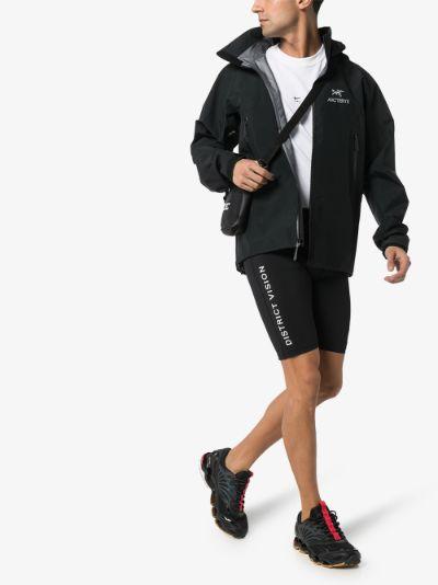 black TomTom logo print track shorts