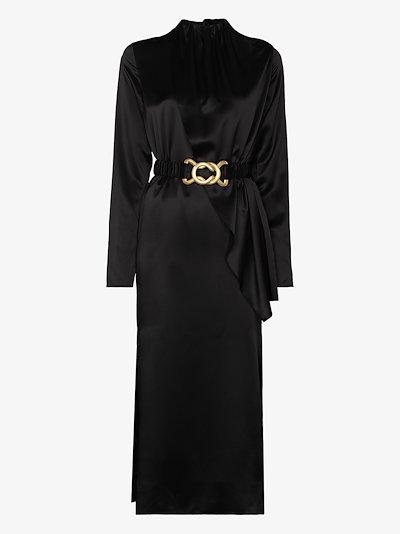 Berna belted satin midi dress