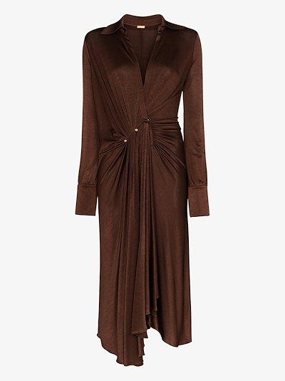 deep V-neck dropped waist midi dress