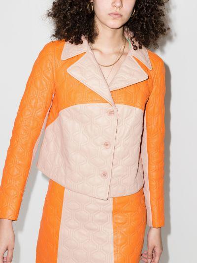 Fran colour block leather jacket