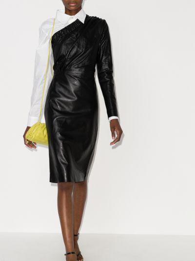 Gorgiee one shoulder leather dress