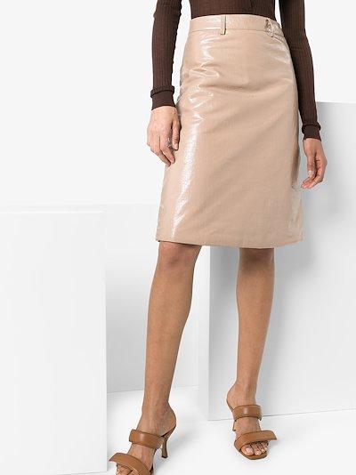 mock croc leather pencil skirt
