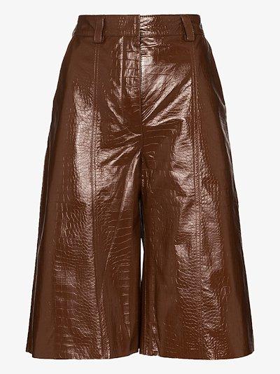 mock croc leather shorts