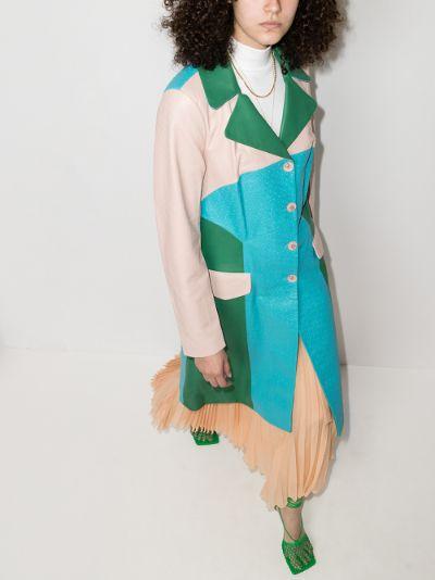 Nadine colour block leather coat