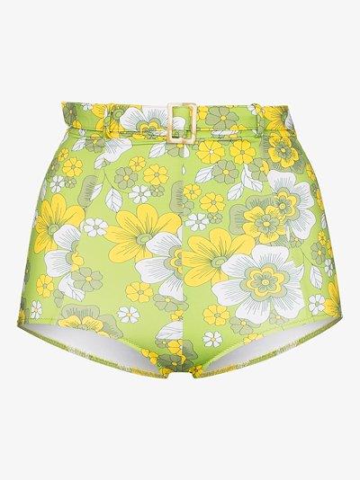 Pamela floral high waist bikini bottoms