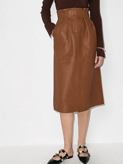 Tricia High Waist Leather Midi Skirt