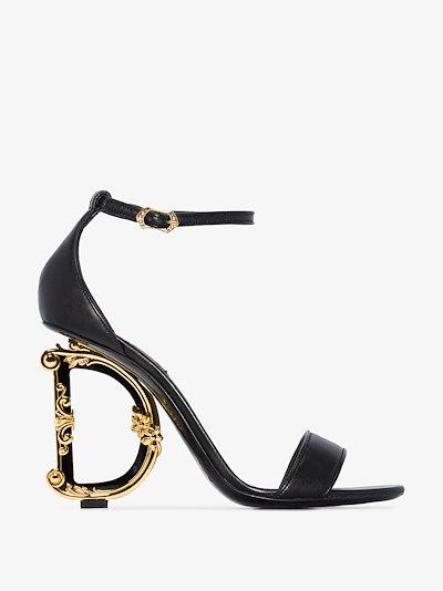 black 105 DG Baroque logo heel leather sandals