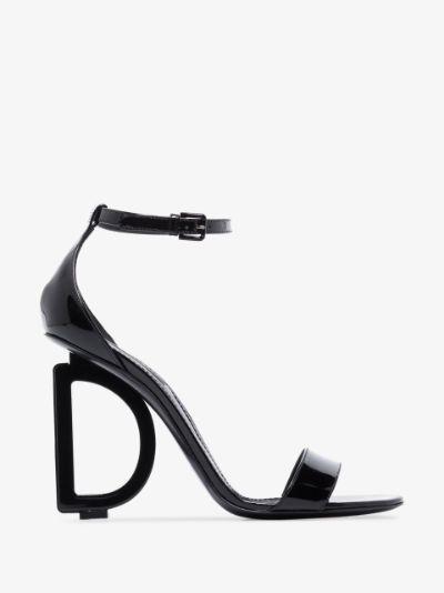 black 110 patent leather DG heel sandals