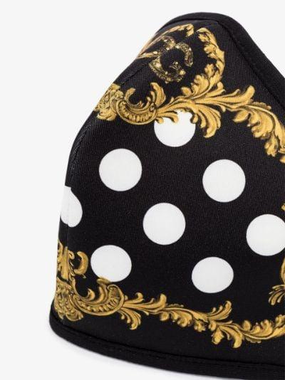 black Baroque polka dot print face mask