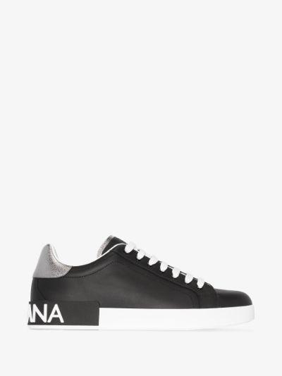 black Classic Portofino leather sneakers
