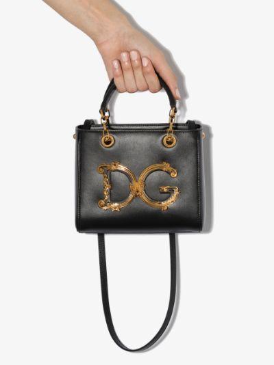 black DG Girls leather cross body bag