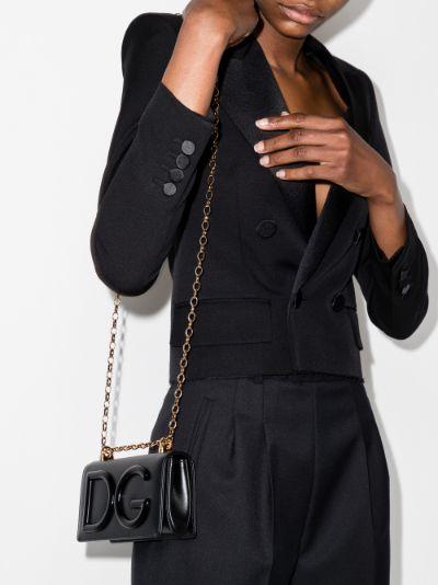 Black DG leather cross body mini bag