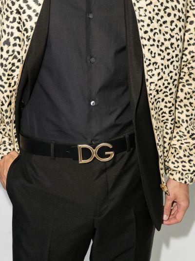 black DG logo leather belt