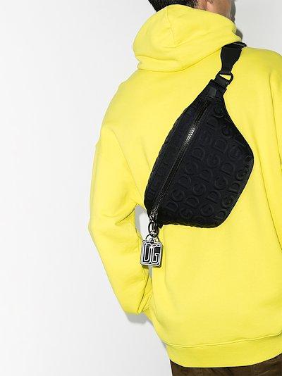 black embossed logo cross body bag