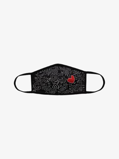 black heart monogram print face mask