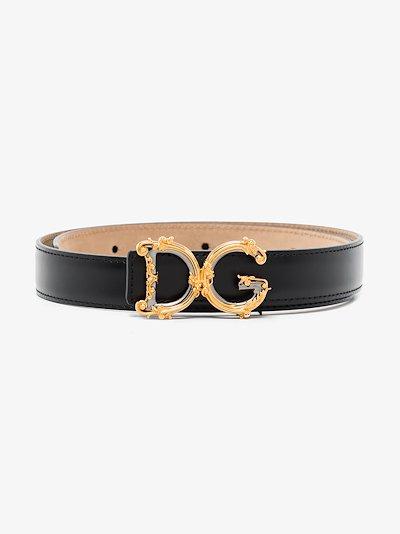 Black leather logo belt