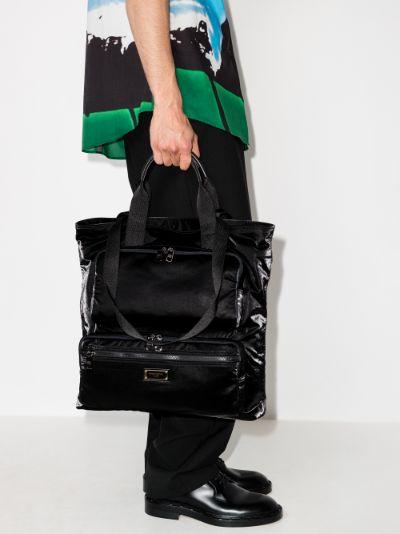 Black shopper tote bag
