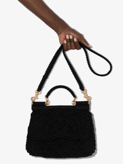 black Sicily lace shoulder bag