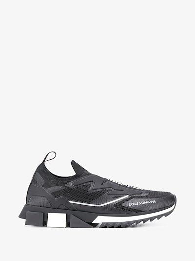 black slip-on trainers
