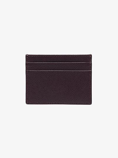 brown crystal logo leather cardholder