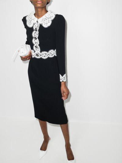 Cady lace trim midi dress