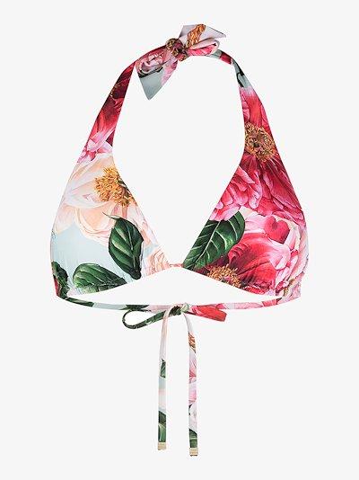 camellia print bikini top