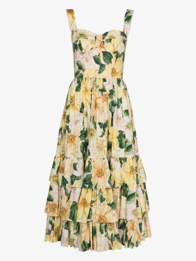 Camellia print ruffle midi dress