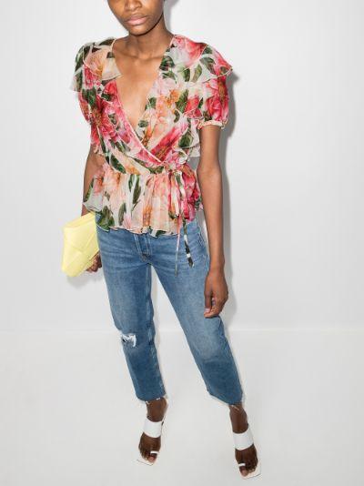 chiffon wrap floral blouse