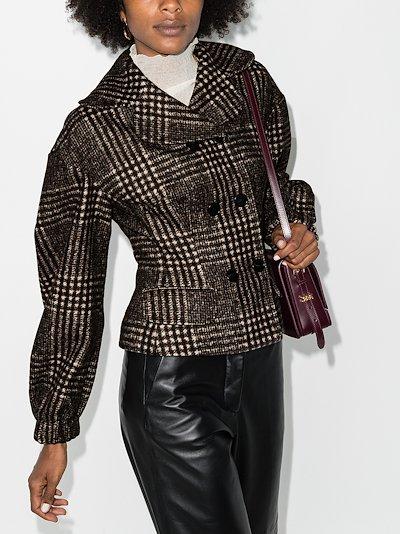 double-breasted curve shoulder jacket