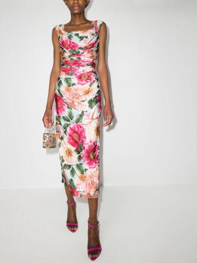 draped jersey floral dress