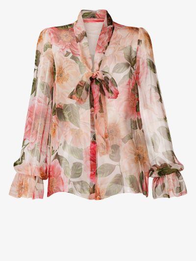 floral print silk blouse
