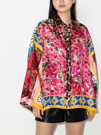 floral print silk kimono shirt